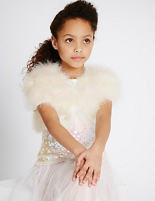 Pure Cotton Marabou Cardigan (4-14 Years) , IVORY, catlanding
