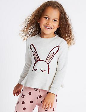 Cotton Rich Frill Hem Bunny Sweatshirt (3 Months - 6 Years), OATMEAL MIX, catlanding