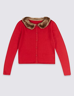 Pure Cotton Faux Fur Collar Cardigan (1-10 Years), RED MIX, catlanding