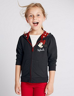 Minnie Mouse Cotton Blend Hoody Top (1-7 Years), CHARCOAL, catlanding