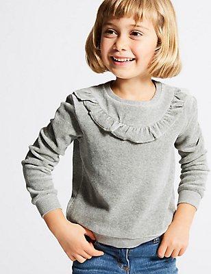Katoenrijke, velours trui (3 maanden-6 jaar), GRIJS MIX, catlanding