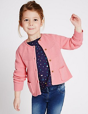 Pure Cotton Cardigan (3 Months - 5 Years), PINK, catlanding