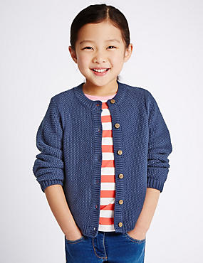Pure Cotton Chunky Knit Cardigan (1-7 Years)