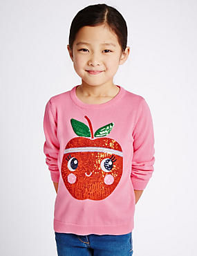 Pure Cotton Sequin Embroidered Apple Jumper (1-7 Years)