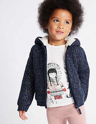 Cotton Rich Pom-pom Hooded Top (3 Months - 6 Years), NAVY MIX, catlanding