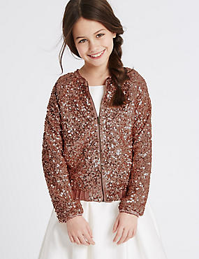Front Zipped Sequin Jacket (4-14 Years), PINK, catlanding