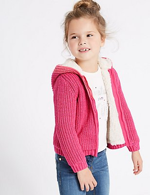 Cotton Rich Pom-pom Hooded Top (3 Months - 6 Years), PINK, catlanding