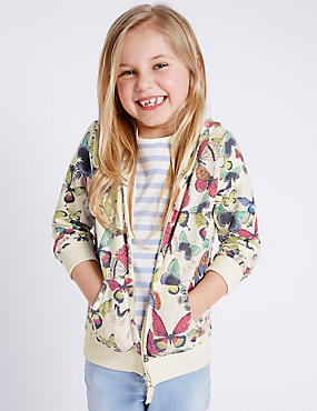 Butterfly Print Hooded Top (1-7 Years)