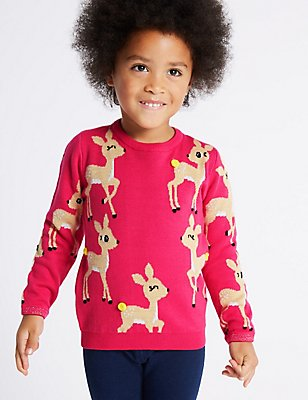 Cotton Rich All Over Deer Print Christmas Jumper (3 Months - 5 Years), PINK MIX, catlanding
