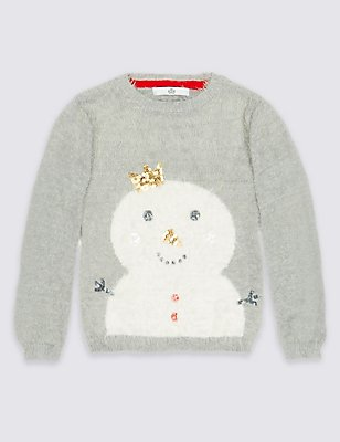 Snowman Sequin Jumper (3 Months - 6 Years), SILVER GREY, catlanding