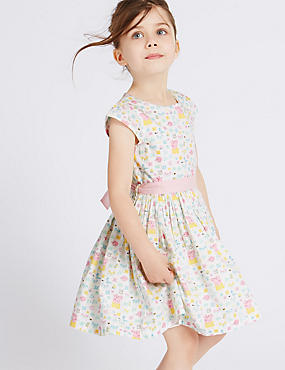 Pure Cotton Peppa Pig™ Dress with Belt (1-5 Years), WHITE MIX, catlanding