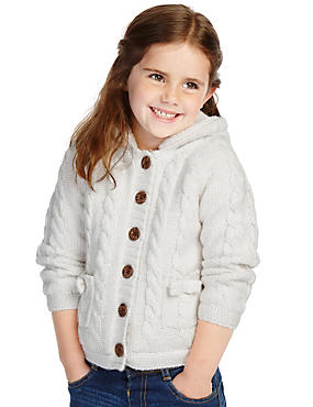 Borg Lined Hooded Cardigan with Wool (1-7 Years)