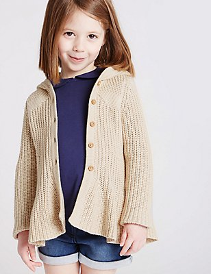 Cotton Rich Hooded Cardigan with StayNEW™ (3 Months - 5 Years), OATMEAL, catlanding