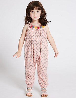 Pure Cotton Tassel Jumpsuit (3 Months - 5 Years), MULTI, catlanding