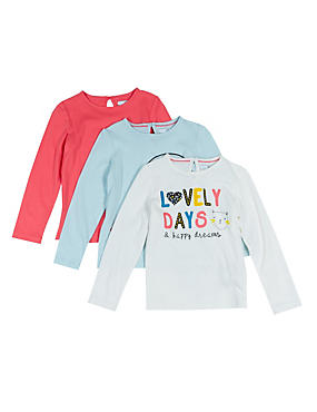 3 Pack Pure Cotton Assorted T-Shirts with StayNEW™ (1-7 Years)