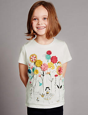 Modal Blend Floral Appliqué T-Shirt (1-7 Years)