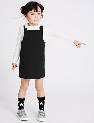 Denim Pinny Dress (3 Months - 5 Years), BLACK, catlanding