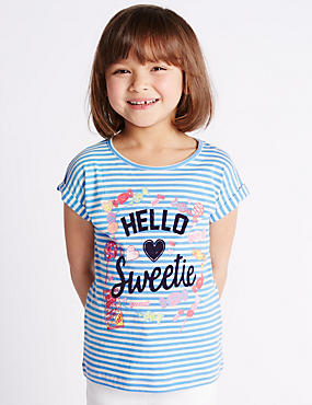 Pure Cotton Hello Sweetie Slogan Striped T-Shirt (1-7 Years)