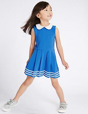 Pure Cotton Dress (3 Months - 5 Years), BLUE MIX, catlanding