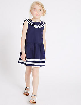 Pure Cotton Woven Dress (3 Months - 5 Years), NAVY MIX, catlanding
