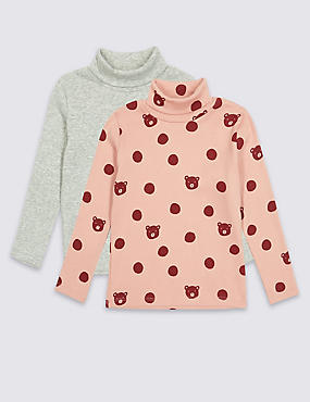 2 Pack Cotton Rich Tops (3 Months - 6 Years), MULTI, catlanding