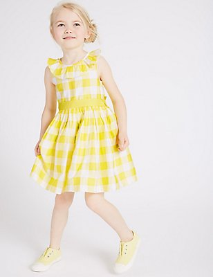Pure Cotton Checked Prom Dress (3 Months - 5 Years), YELLOW MIX, catlanding