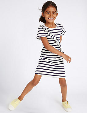 Pure Cotton Striped Dress (3 Months - 5 Years), NAVY MIX, catlanding