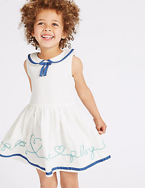 Pure Cotton Slogan Dress (3 Months - 5 Years), IVORY MIX, catlanding