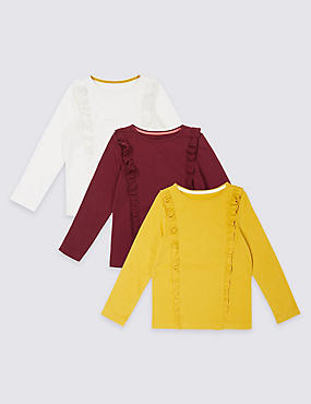 3 Pack Pure Cotton Frill Tops (3 Months - 5 Years), MULTI, catlanding
