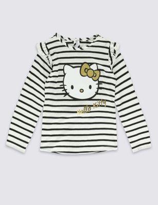 Топ из чистого хлопка в полоску с дизайном Hello Kitty для девочки 1-7 лет