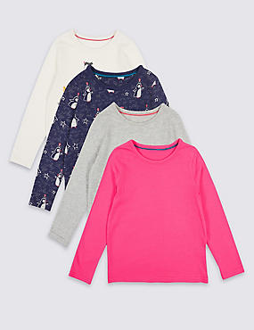 4 Pack Pure Cotton Tops (3 Months - 6 Years), MULTI, catlanding