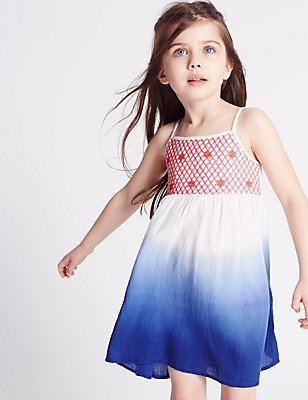 Pure Cotton Dip Dyed Dress (3 Months - 5 Years), BLUE MIX, catlanding