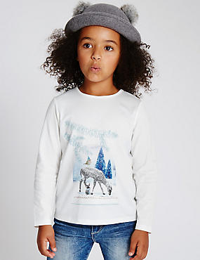 Augmented Reality Long Sleeve Printed Top (1-7 Years), WHITE MIX, catlanding