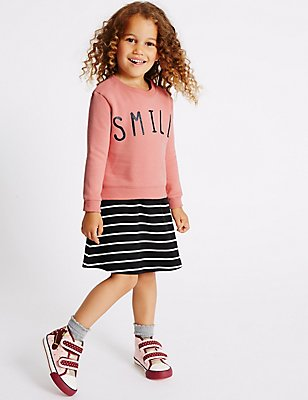 2 Piece Cotton Rich Sweatshirt & Dress, LIGHT PINK MIX, catlanding