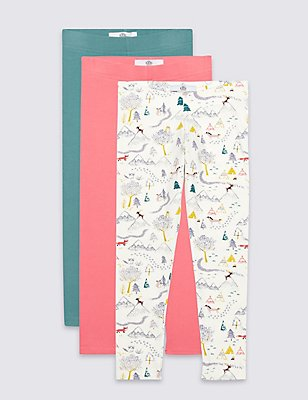 3 Pack Cotton Leggings with Stretch (3 Months - 5 Years), IVORY MIX, catlanding