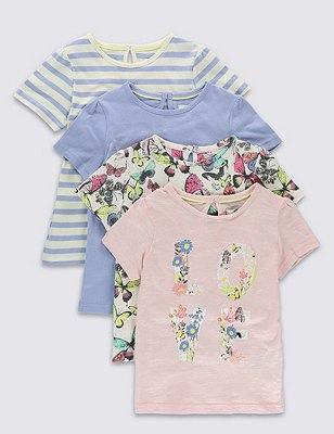 4 Pack Pure Cotton Assorted T-Shirts (1-7 Years), PINK MIX, catlanding