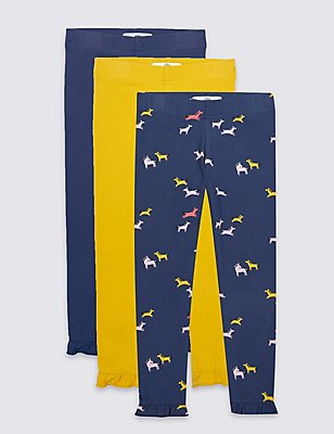 3 Pack Cotton Leggings with Stretch (3 Months - 5 Years), NAVY MIX, catlanding