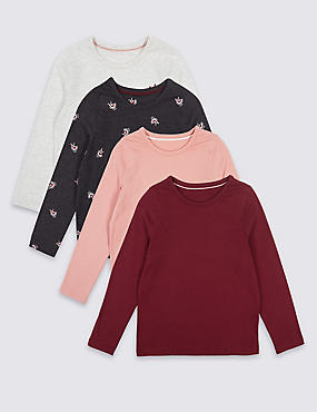 4 Pack Long Sleeve Tops (3 Months - 6 Years), RED MIX, catlanding