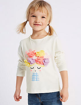 Pure Cotton Floral Top (3 Months - 7 Years), IVORY MIX, catlanding