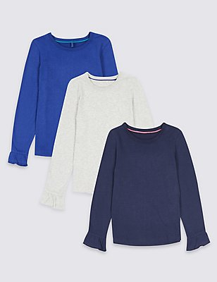 3 Pack Pure Cotton Tops (3 Months - 6 Years), MULTI, catlanding
