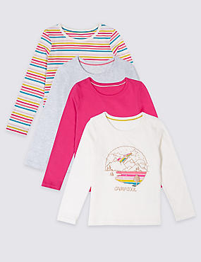 4 Pack Pure Cotton Tops (3 Months - 7 Years), MULTI, catlanding