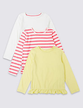 3 Pack Cotton Tops (3 Months - 7 Years), MULTI, catlanding