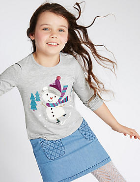 Cotton Rich Long Sleeve Snowman Top (1-7 Years), GREY MARL, catlanding