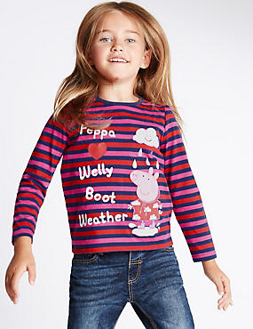 Pure Cotton Peppa Pig™ Striped Jersey Top (1-7 Years), RED MIX, catlanding