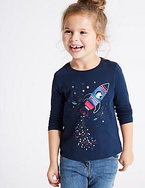 Pure Cotton Unicorn Express Top (3 Months - 6 Years), NAVY MIX, catlanding