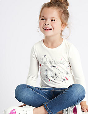 Pure Cotton Unicorn Top (3 Months - 6 Years), IVORY MIX, catlanding