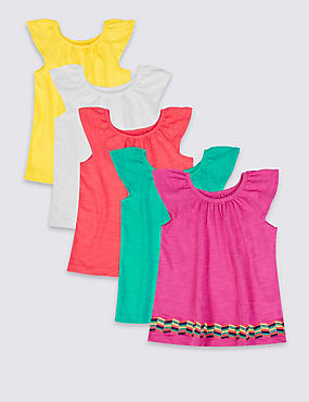 5 Pack Pure Cotton Frill Tops (3 Months - 5 Years), MULTI, catlanding