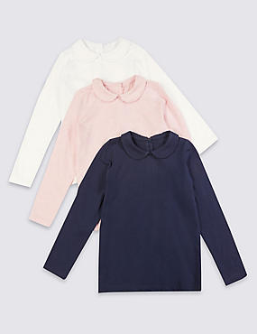 3 Pack Pure Cotton Tops (3 Months - 5 Years), NAVY MIX, catlanding