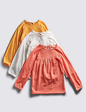 3 Pack Pure Cotton Smocked T-Shirts (1-7 Years)