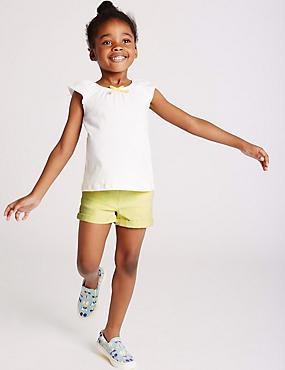 Katoenen denim korte broek met stretch (3 maanden-5 jaar), GEEL, catlanding